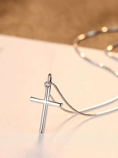 Sterling Silver minimalist cross box chain necklace