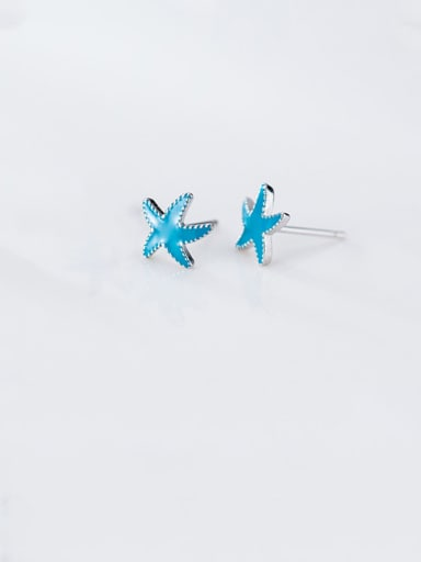 925 Sterling Silver With Platinum Plated Cute Starfish Stud Earrings
