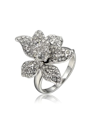Exquisite 18K Platinum Plated Flower Shaped Zircon Ring