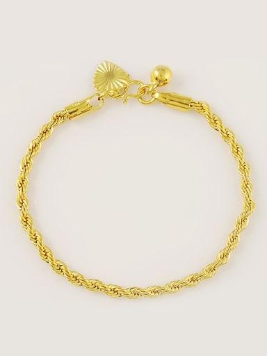 Fashion 24K Gold Plated Heart Shaped Wave Shaped Bracelet