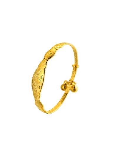 Copper Alloy 23K Gold Plated Children Love Bell Bangle