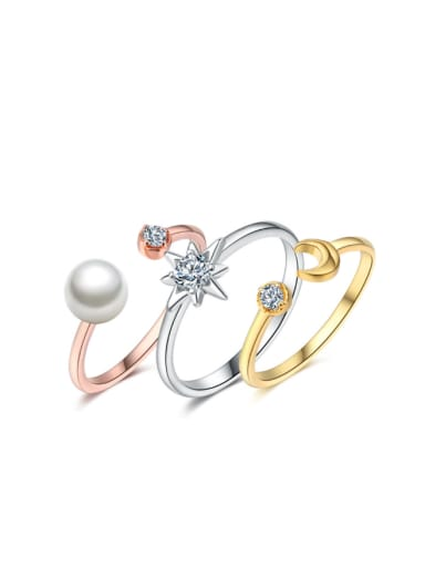 Simple Style Three Pieces Fashion Ring Set