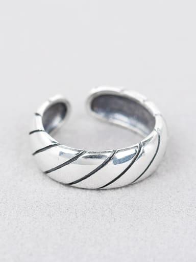 Retro Fringe Pattern Silver Opening Ring