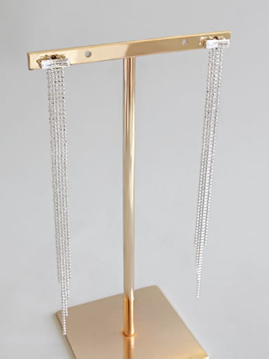 Sterling Silver temperament and square zircon long earrings