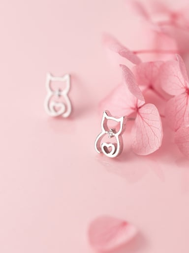 925 Sterling Silver With Silver Plated Hollow Cute Cat Stud Earrings