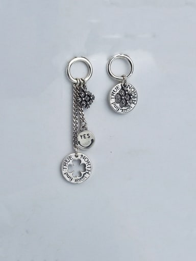 Sterling Silver With Geometric English Tag Creative Thai Silver Earrings