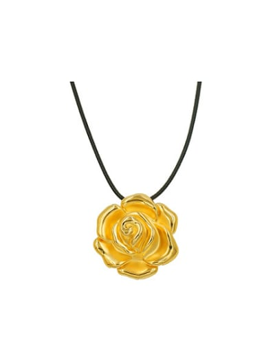 Copper Alloy 24K Gold Plated Multi-use Rose Black String Necklace