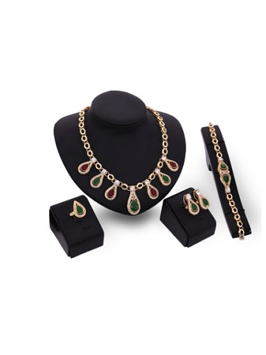 Alloy Imitation-gold Plated Vintage style Artificial Water Drop shaped Stones Four Pieces Jewelry Set