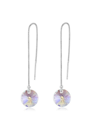 Simple Cubic White Swarovski Crystal Alloy Line Earrings