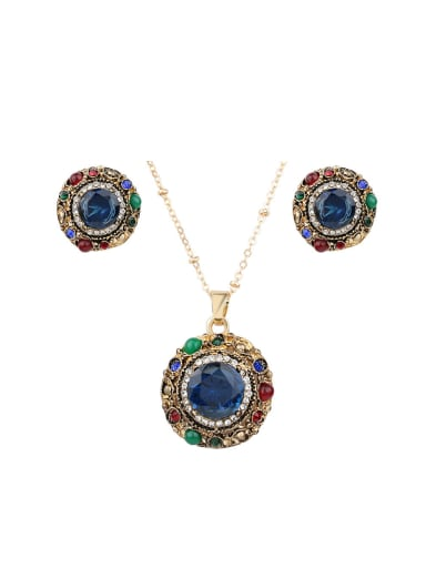 Vintage style Cubic Resin stones Alloy Two Pieces Jewelry Set