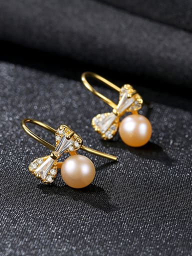 Pure silver natural freshwater pearl cute bow tie studs