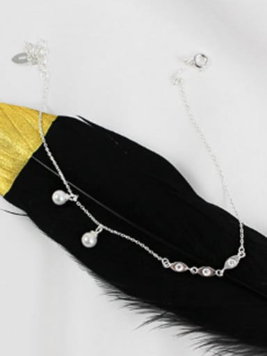 Fashion White Artificial Pearls Silver Anklet