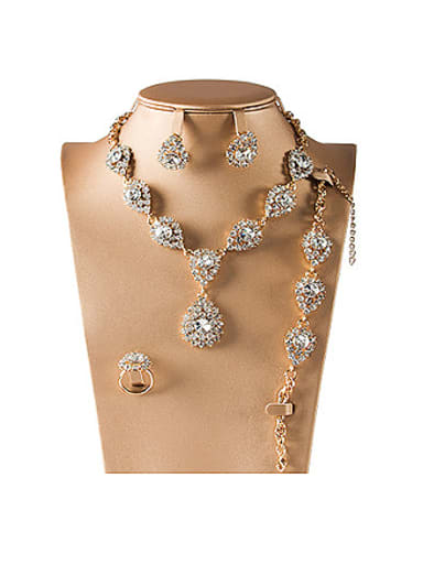 Artificial Crystal Colorfast Four Pieces Jewelry Set