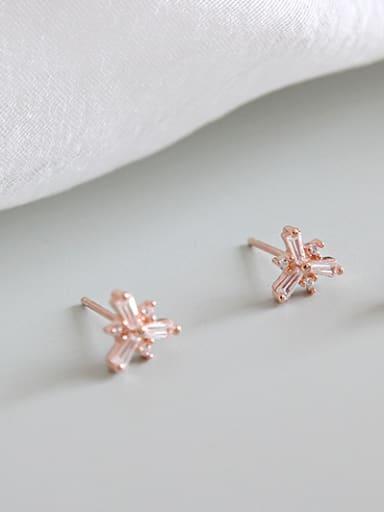 Sterling silver inlay zircon flower mini earrings