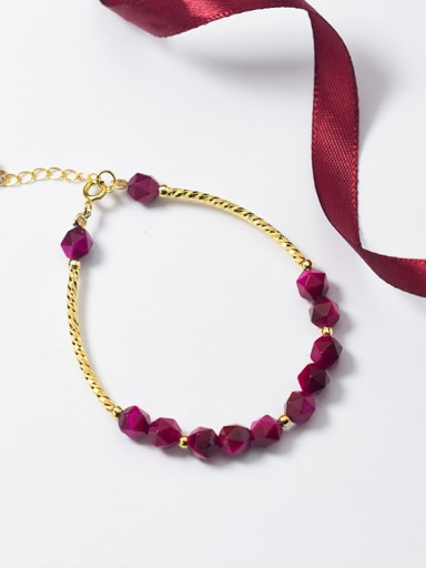 Rosy red special-shaped stone gold plated Korean style sweet beads bracelet