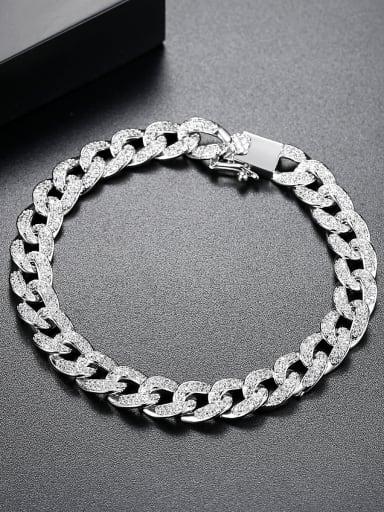 Copper inlaid AAA cubic zirconia Simplistic Round Bracelets