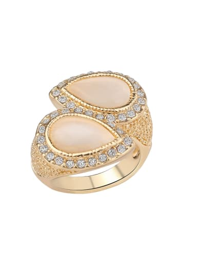 Exaggerated Water Drop Opal stones Crystals Alloy Ring