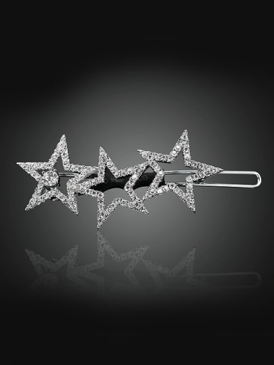 Fashion Hollow Cubic Zircon-studded Star Copper Hairpin