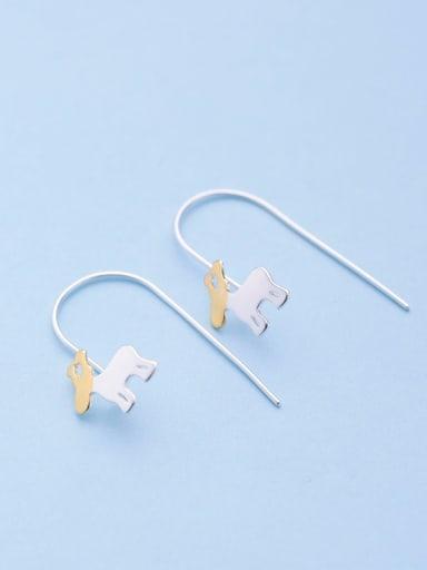 Double Color Deer Shaped Drop Earrings