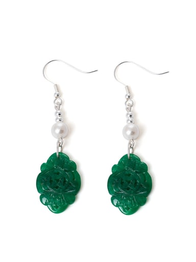 Retro style Shell Pearls Green Emerald 925 Silver Earrings