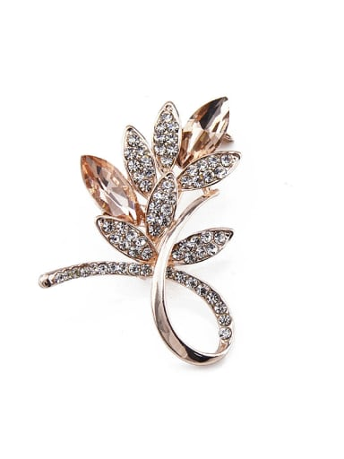 Rose Gold Plated Flower-shaped Brooch