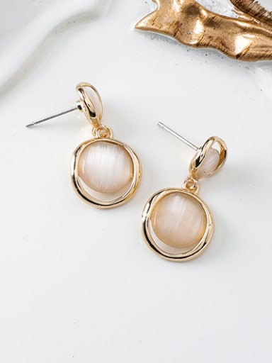 Alloy With Rose Gold Plated Simplistic Round Drop Earrings