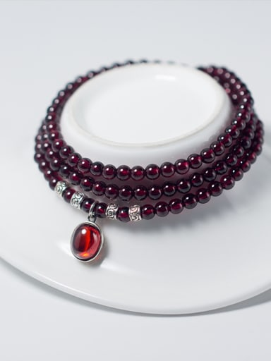 Fashion Oval Shaped Garnet Multi Layer Beaded Bracelet