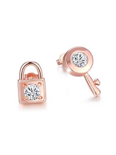 Asymmetrical Key Lock Stud Earrings