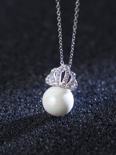 S925 Silver Small Crown Pearl Necklace