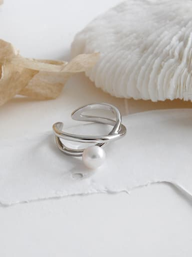 925 Sterling Silver With Platinum Plated Vintage Irregular Midi Rings
