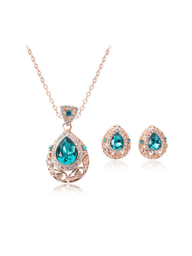 Alloy Rose Gold Plated Fashion Water Drop shaped Gemstones Two Pieces Jewelry Set