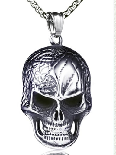Stainless Steel With Gun Plated Personality Skull Necklaces