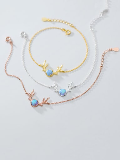 925 Sterling Silver With Gold Plated Simplistic Antlers Bracelets