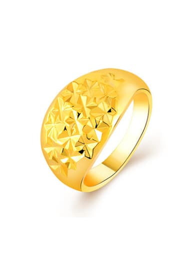 Women Exquisite 24K Gold Plated Star Pattern Copper Ring