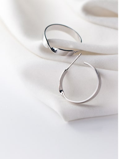 925 Sterling Silver With Silver Plated Simplistic Bowknot C-shaped Stud Earrings