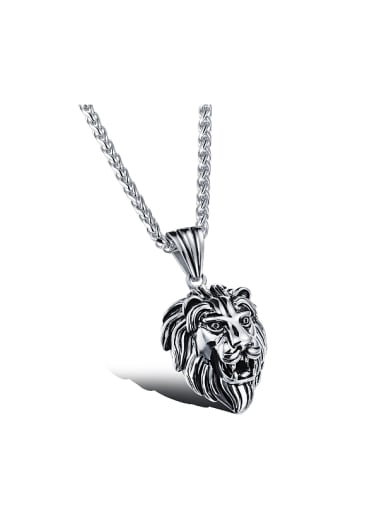 Punk style Personalized Lion Head Pendant Titanium Necklace