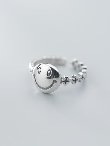 925 Sterling Silver With Antique Silver Plated Cute Smiley Free Size Rings