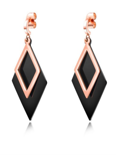 Stainless Steel With Rose Gold Plated Simplistic Geometric Earrings