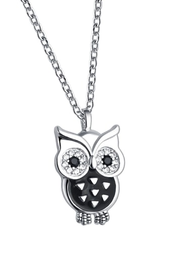 925 Sterling Silver With  Enamel  Cute Retro owl  Necklaces