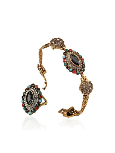 Retro style Colorful Resin stones Alloy Two Pieces Jewelry Set