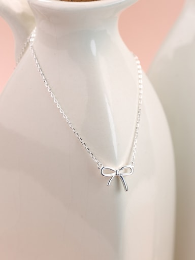 Simple Tiny Bow Pendant 925 Silver Necklace