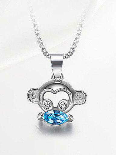 Blue Crystal Monkey-shaped Necklace
