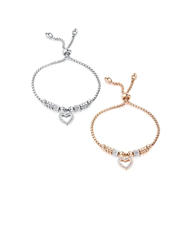 Stainless Steel With Cubic Zirconia  Simplistic Heart Adjustable Bracelets