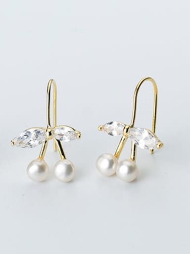 Fresh Leaf Shaped Gold Plated Artificial Pearl Drop Earrings