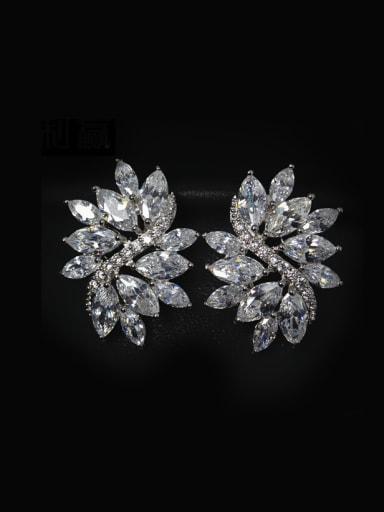 AAA Zircons Leave-shape Stud Cluster earring