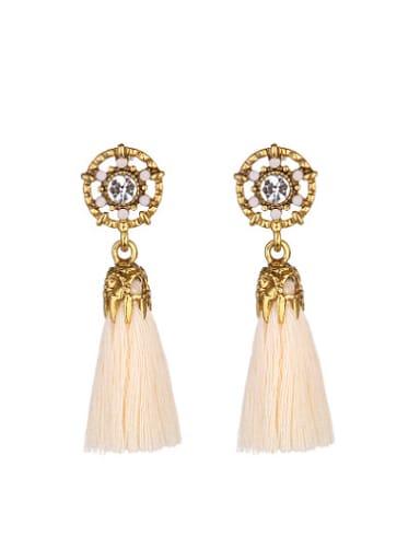 Vintage Round Shaped Rhinestones Tassels Stud Earrings
