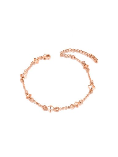 Adjustable Rose Gold Plated Diamond Shaped Alloy Bracelet