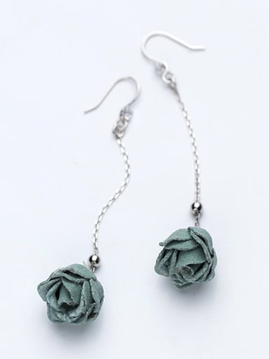 Fresh Green Rosary Shaped S925 Silver Drop Earrings