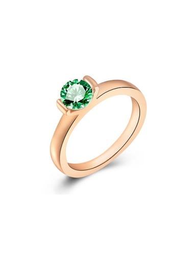 High-quality Green  Rose Gold Swiss Zircon Ring