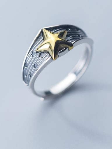 925 Sterling Silver With Antique Silver Plated  Pentagram  Free Size  Rings